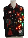 Unisex Multicolor Lightup Country Kitsch Ugly Christmas Sweater Vest