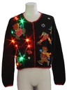 Womens Multicolor Lightup Bear-riffic Ugly Christmas Sweater