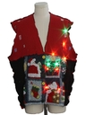 Unisex Hand Made Patchwork Multicolor Lightup Ugly Christmas Sweater Vest