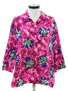 Womens Barkcloth Hawaiian Style Shirt