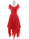 Womens Totally 80s Lacey Prom Or Cocktail Dress