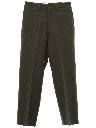 Mens Mod Flat Front Military Wool Slacks Pants