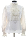 Womens Victorian Style Lace Ruffled Secretary Shirt