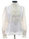 Womens Victorian Style Lace Ruffled Secretary Shirt