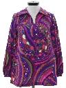 Womens Mod Psychedelic Op-Art Print Hippie Shirt