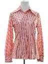 Womens Shiny Nylon Striped Print Disco Shirt