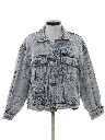 Womens Totally 80s Look Acid Wash Denim Jacket