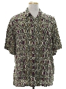 Mens Designer Totally 80s Graphic Print Rayon Sport Shirt