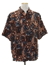 Mens Totally 80s Style Rayon Graphic Print Sport Shirt