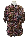Mens Totally 80s Look Rayon Graphic Print Sport Shirt