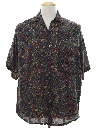 Mens Totally 80s Look Rayon Graphic Print Shirt