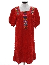 Womens Embroidered Mexican Style Hippie Dress
