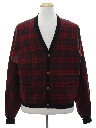 Mens Mod Wool Tartan Plaid Sweater Jacket