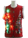 Unisex Multicolor Lightup Hand Embellished Ugly Christmas Sweater Vest