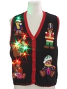 Womens Multicolor Lightup Bear-riffic Ugly Christmas Sweater Vest