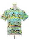 Mens Totally 80s Graphic Print Surf Style Sport Shirt
