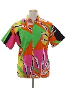 Mens Totally 80s Geometric Print Surf Shirt
