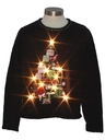 Womens White Lightup Ugly Christmas Sweater