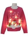 Womens/Girls White Lightup Ugly Christmas Sweater