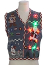 Womens Multicolor Lightup Patriotic Ugly Christmas Sweater Vest