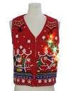Womens Multicolor Lightup Ugly Christmas Sweater Vest