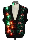 Womens Vintage Multicolor Lightup Ugly Christmas Sweater Vest