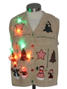 Womens or Girls Multicolor Lightup Country Kitsch Ugly Christmas Sweater Vest