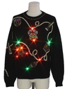 Unisex Vintage Multicolor Lightup Ugly Christmas Cocktail Sweater