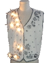 Unisex White Lightup Ugly Christmas Sweater Vest