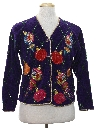 Womens Vintage Designer Ugly Christmas Cardigan Sweater