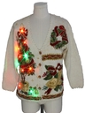 Unisex Multicolor Lightup Ugly Christmas Cardigan Sweater