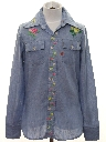 Mens/Boys Embroidered Chambray Hippie Shirt