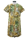 Womens Mod Print Asian Inspired Silk Dress