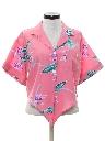 Womens Totally 80s Cropped Hawaiian Shirt
