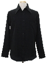 Mens Saturday Night Fever Style Black Solid Disco Shirt