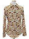 Mens Hippie Style Print Disco Shirt