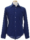 Mens Solid Disco Style Knit Shirt