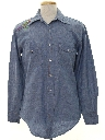 Mens Embroidered Western Chambray Hippie Shirt