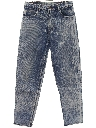 Mens Grunge Acid Washed Totally 80s Denim Jeans Pants