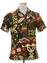 Mens Barkcloth Hawaiian Shirt