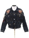 Womens Designer Totally 80s Hand Embellished Western Style Denim Jacket