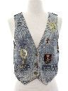 Womens Totally 80s Acid Washed Denim Vest