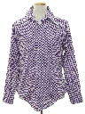 Mens Cotton Blend Subtle Print Disco Style Shirt