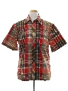 Mens Plaid Print Sport Shirt