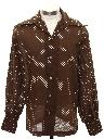 Mens Subtle Print Disco Style Cotton Blend Sport Shirt