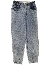 Womens Acid Washed Tapered Leg Denim Jeans Pants