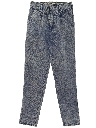 Womens Acid Washed Totally 80s Style Tapered Leg Denim Jeans Pants
