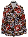 Womens Pow-Flower Print Disco Hippie Shirt