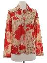 Womens Print Disco Style Hippie Shirt