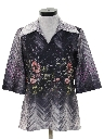 Womens Pullover Hippie Style Print Disco Shirt